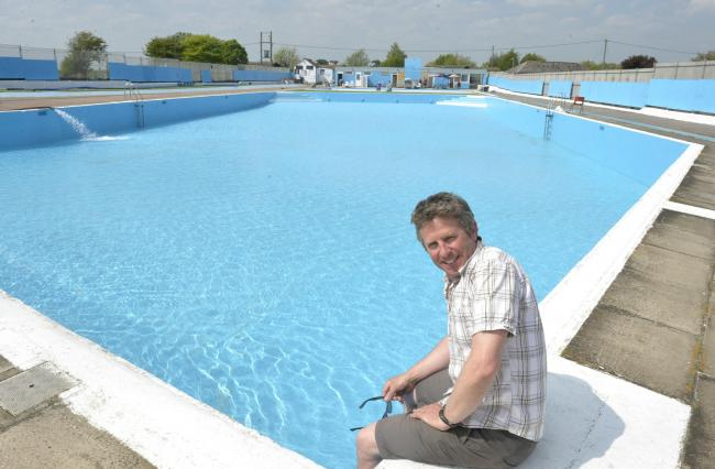 Better times - Will Jenkins, manager, at Brightlingsea Lido when it reopened in 2018