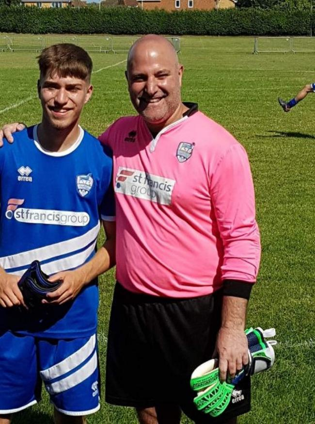 Father-and-son duo: John and Tom Watkins played for Brantham Athletic in their 8-0 success against Capel Plough.