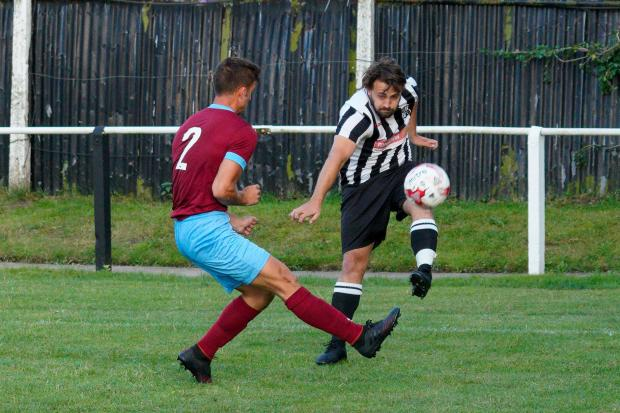 Charlie Pleace made his 100th appearance for Halstead Town as they beat Burnham Ramblers 1-0. Picture: Roger Cuthbert LRPS
