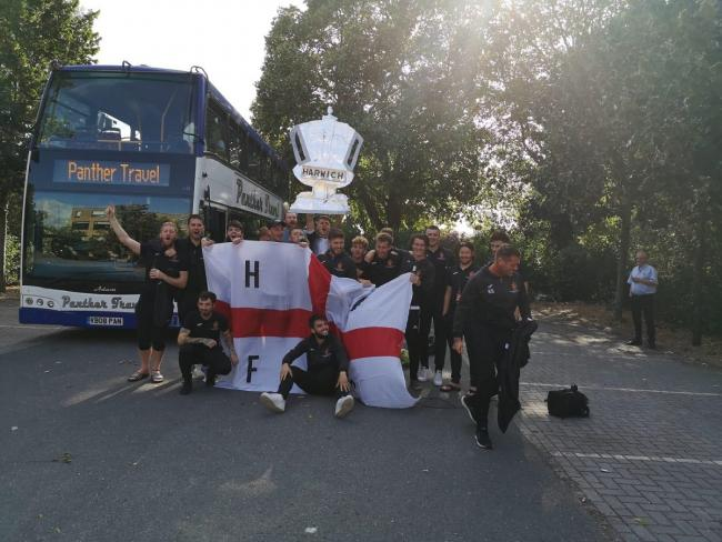 Up for the cup - the Harwich and Parkeston players arrive at Ilford