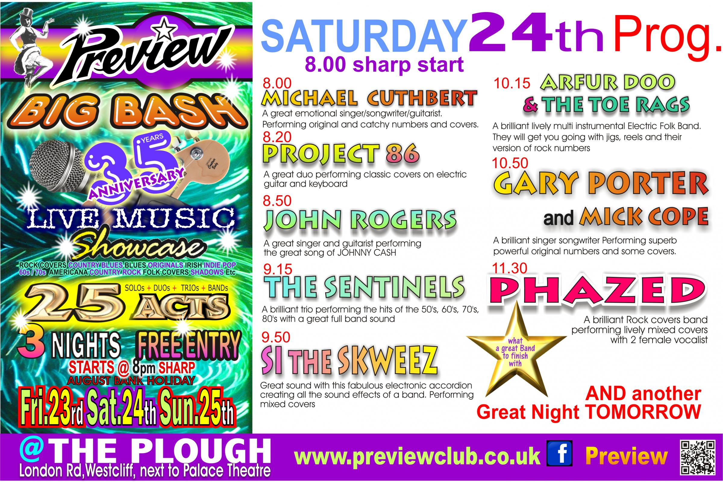 PREVIEW's Live Music BIG BASH Saturday 24th