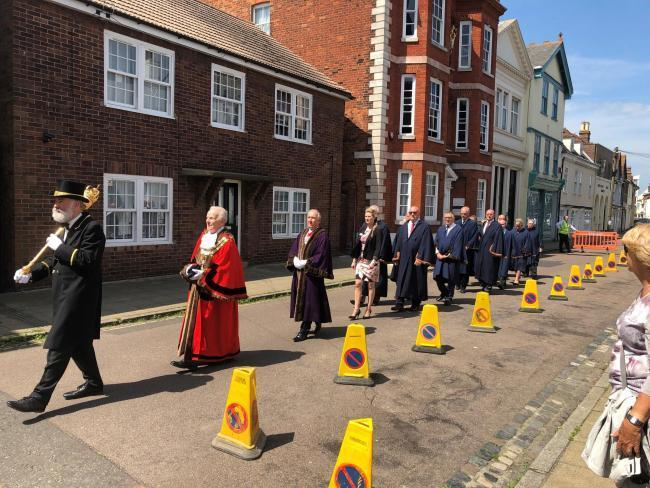 Alan Todd followed by deputy mayor Ivan Henderson and councillors parading to St Nicholas Church