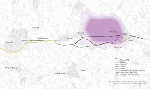 Map shows proposed new routes for A12 between Chelmsford and Marks Tey