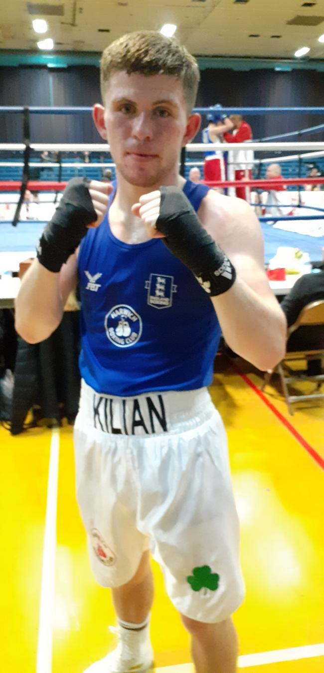 National final: Kilian Hardy won his fiercely-contested welterweight semi-final in Swindon.