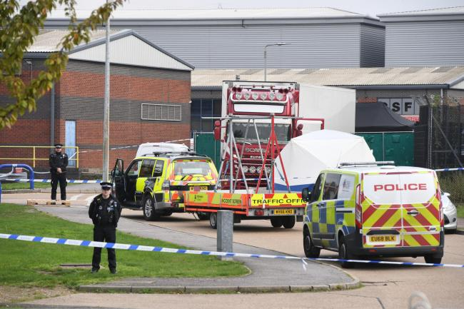 Police activity at the Waterglade Industrial Park in Grays, Essex, after 39 bodies were found inside a lorry container on the industrial estate. PA Photo. Picture date: Wednesday October 23, 2019. Early indications suggest there 38 are adults and one teen