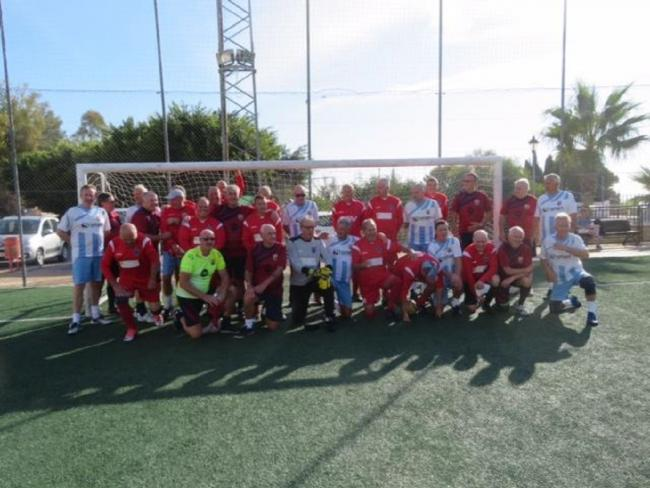Spanish success: Little Oakley's walking footballers with the ex-pats in Torremolinos.