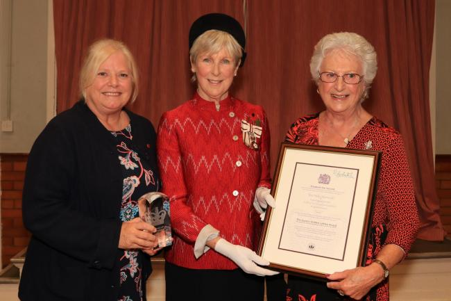 28 OCT 2019 – PICTURED L-R: Mrs. Judith Skargon (Chair and Trustee Director of Teen Talk Harwich), Mrs Jennifer Tolhurst (Her Majesty's Lord Lieutenant of Essex) and Mrs. Marion Rowland MBE (Trustee Director of Teen Talk Harwich),  - Presentatio