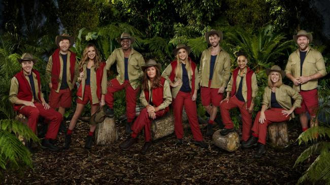 MANDATORY CREDIT REQUIRED: ITV..Undated handout photo issued by ITV of (left to right) Roman Kemp, Andrew Maxwell, Nadine Coyle, Ian Wright MBE, Caitlyn Jenner, Jacqueline Jossa, Myles Stephenson, Adele Roberts, Kate Garraway and James Haskell who have be
