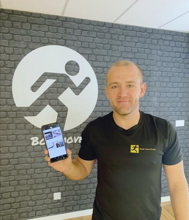 FITNESS APP: Matt Rozier with his application, which has launched this month