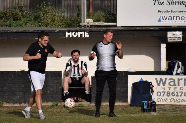 Harwich manager Kieron Shelley (right) and assistant Mike Wallace Picture: Chris Smith