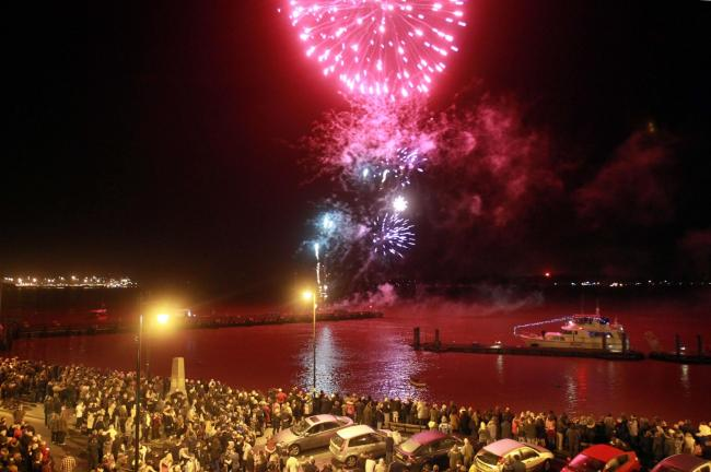 Spectacular display: Fireworks at Harwich Quay, to celebrate the start of the New Year, in 2016