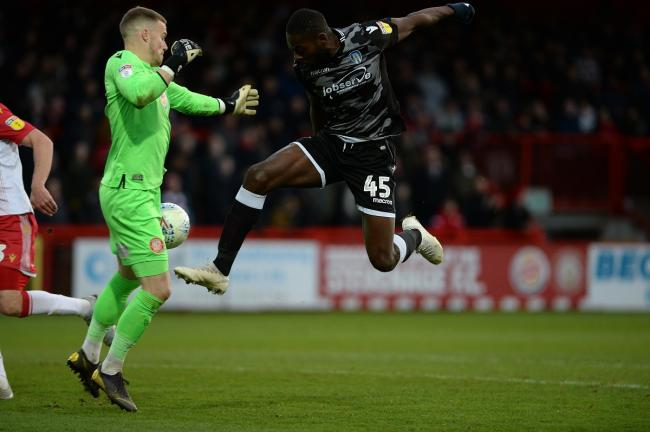 Hands up - Colchester United forward Frank Nouble is denied by Stevenage keeper Paul Furman during the 0-0 draw Picture: PAGEPIX