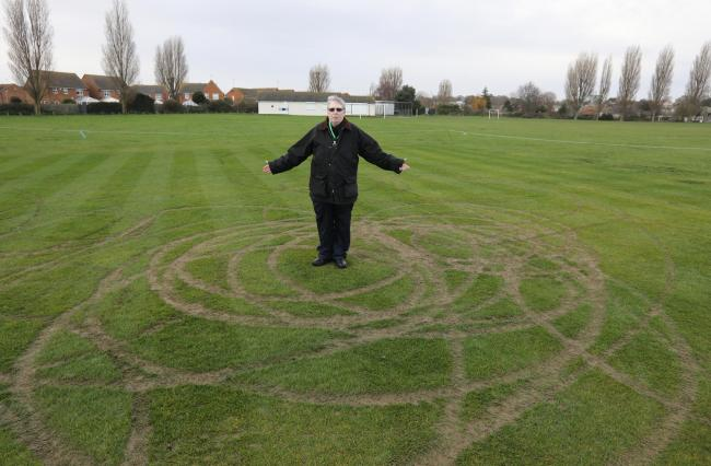 Cllr Maria Fowler looks at the damage caused at Dovercourt Cricket Club.