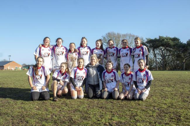 English rose: English rugby player Rachael Burford with Mistley Girls' Rugby Club Picture: Clair Brady