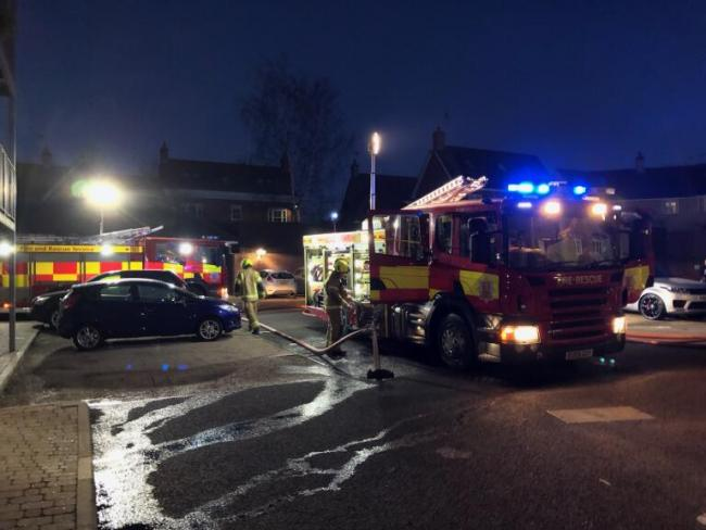 Blaze - residents evacuated the flats in School Lane, Mistley, as fire crews tackled the blaze