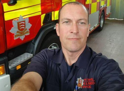 On-call: Jamie Bliss works as a postman and an on-call firefighter at Dovercourt Fire Station
