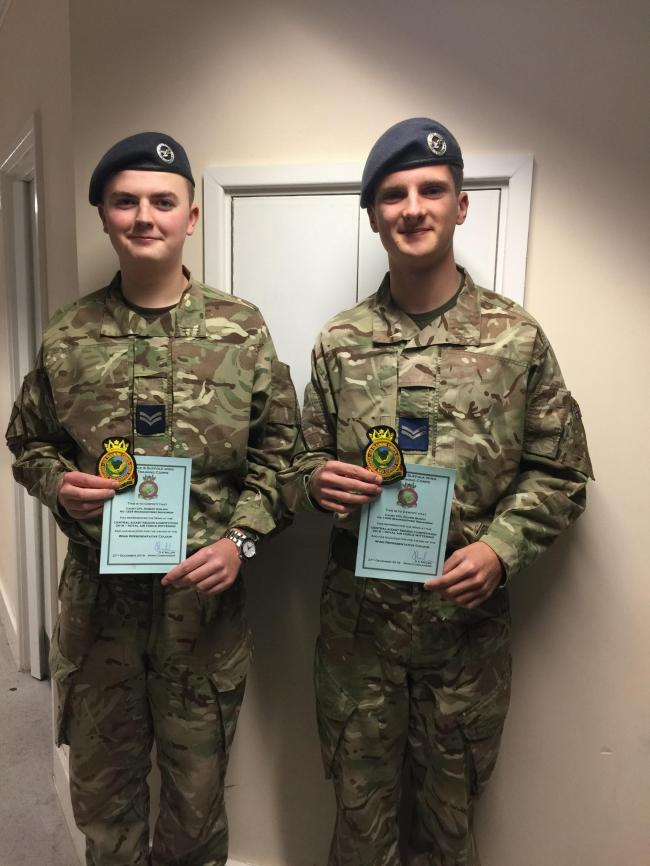 Cpl's Oliver Burch and Robert Girling of 1334 Manningtree Air Cadets