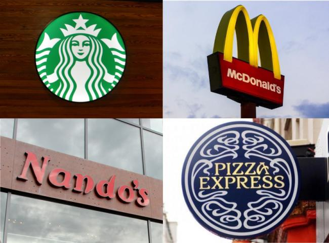 Starbucks, McDonald's, Nando's and Pizza Express. Picture: Newsquest