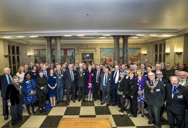 Reception - Mrs Jennifer Tolhurst, Lord Lieutenant, John Jowers, Chairman of Essex County Council, and Charles Clark OBE, Chair of the Essex QAVS Panel, together with groups nominated for the QAVS Award for 2020, some previous winners, Mayors of local aut