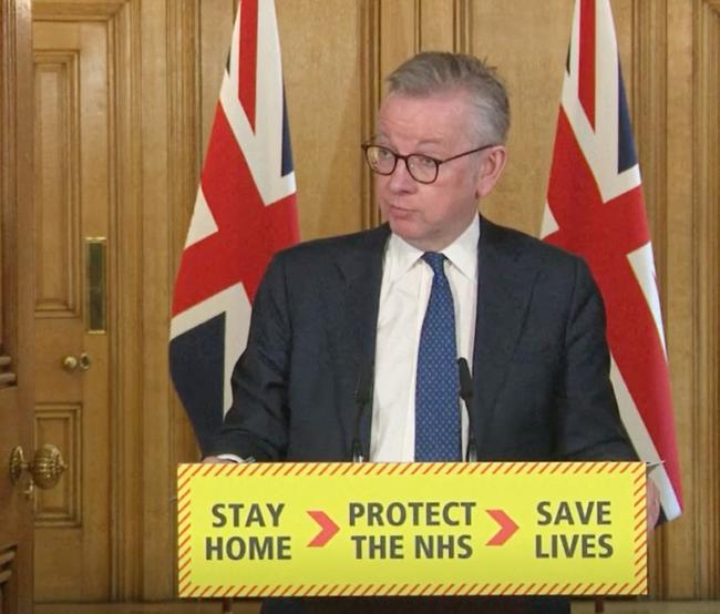 Michael Gove leading today's daily briefing from the UK government
