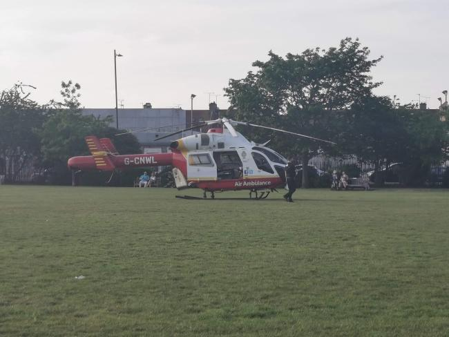 The air ambulance at the scene. Pic: Ross Birnie