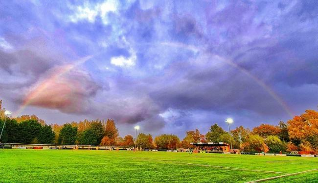Breaking through - a rainbow amid cloudy skies during Witham Town's Pitching In Isthmian League division north game at Aveley, last Saturday Picture: JIM PURTILL