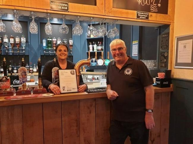 Top pub: The Railway Tavern's Sarah Capon with Camra's Peter Butler earlier this year