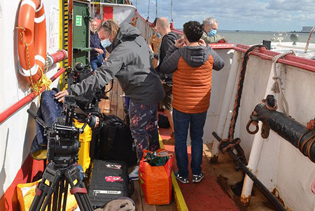 Film crew arriving on the Ross Revenge
