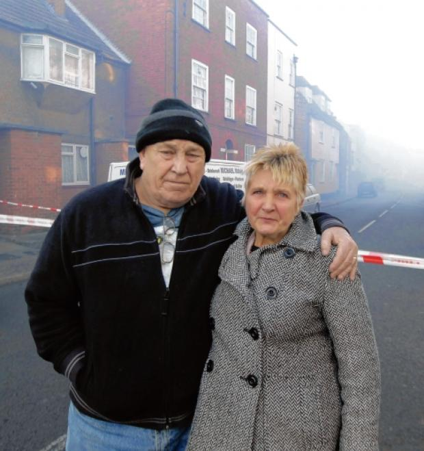 Bill and Jackie Broadley outside the homes in West Street