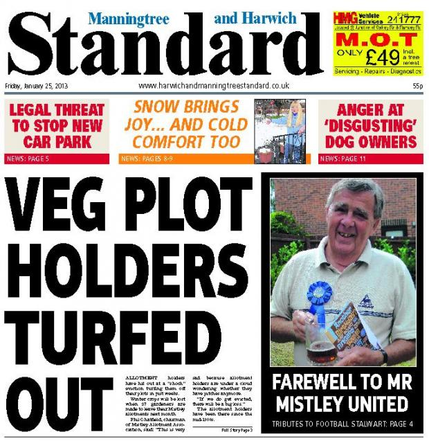 Harwich and Manningtree Standard: Manningtree Standard front page January 25