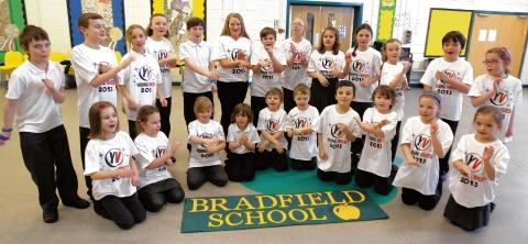 Bradfield Primary School pupils who went to the O2 Arena to sing