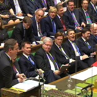 A view of the Government front bench as David Cameron speaks during Prime Minister's Questions.