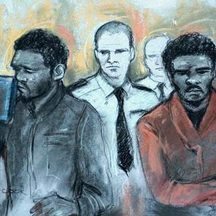 Court artist sketch by Elizabeth Cook of Michael Adebowale and Michael Adebolajo as they were found guilty of the murder of Fusilier