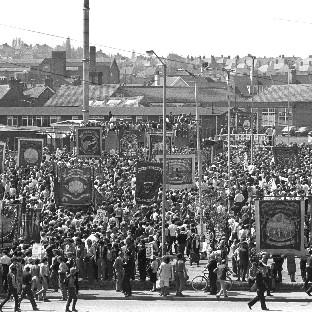 A mass rally of striking miners in Mansfield, Nottinghamshire,