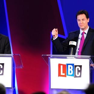 "Harwich and Manningtree Standard: Nick Clegg (right) said his debates with Nigel Farage were just a ""curtain raiser""."