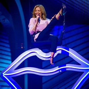 Kylie Minogue making her entrance during rehearsals for the final of The Voice (BBC/PA)