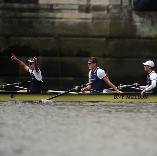 Harwich and Manningtree Standard: Oxford's crew celebrate winning the BNY Mellon Boat Race against Cambridge