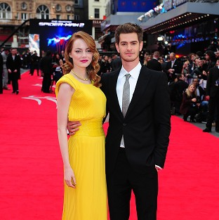 Emma Stone and Andrew Garfield arriving for the world premiere of The Amazing Spider-Man 2