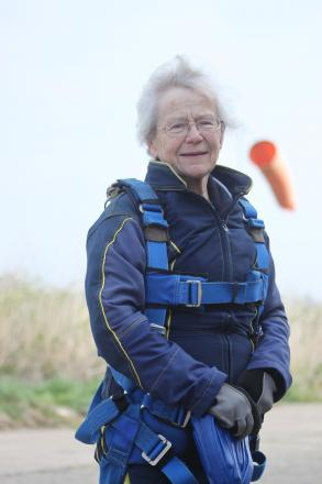 Pat, 77, takes her first flight... and leaps back to earth