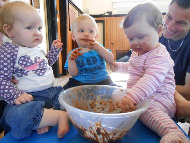 Children got messy at playtime for Easter fun