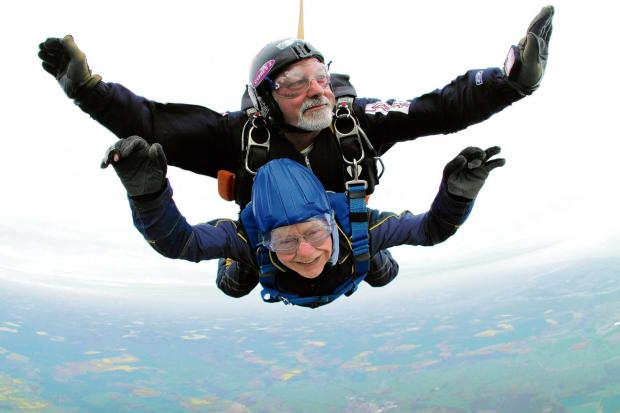 Pat takes a leap in memory of late husband