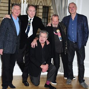 Left to right: Michael Palin, Eric Idle, Terry Jones, Terry Gilliam and John Cleese, the five remaining Pythons