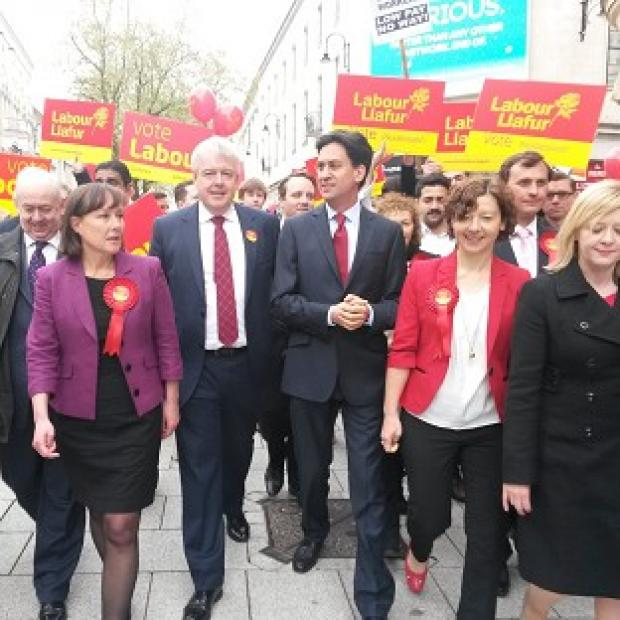 Harwich and Manningtree Standard: Labour Party leader Ed Miliband with Wales First Minister Carwyn Jones in Cardiff city centre