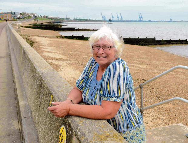 Heather Burwood of Harwich and Dovercourt Beach Hut Association celebrates the news