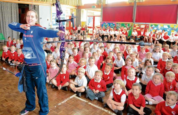 Harwich and Manningtree Standard: Golden archer is a hit with school kids
