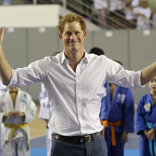 Prince Harry plays basketball in Belo Horizonte on the second day of his tour of Brazil