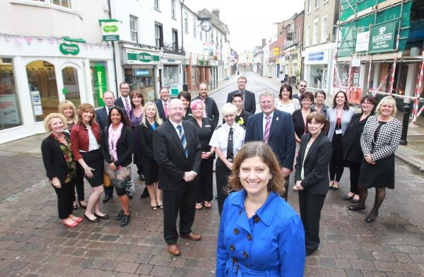 Regeneration manager Alison Jennings has put Braintree up for the award - pictured with councillors and traders
