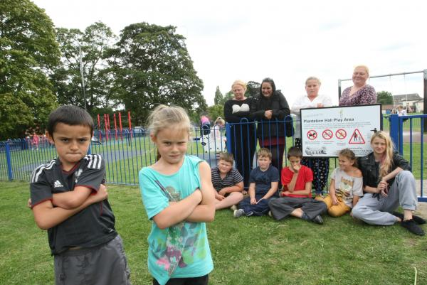 Plantation Hall Play Area in Heybridge has a new sign saying only 2-6year olds are allowed to play on the equipment. Leo Hawes, 7, and Mia Rosario, 7 (and friends) are upset about this