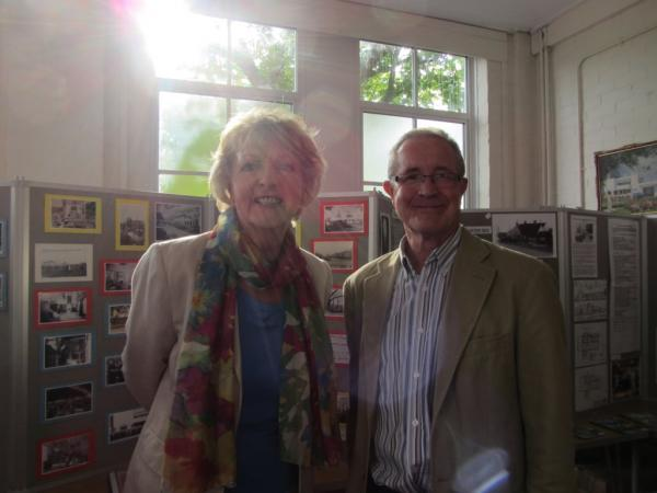 Dame Penelope Keith with Brian Gillion, vice-chairman of the Silver End Heritage Society
