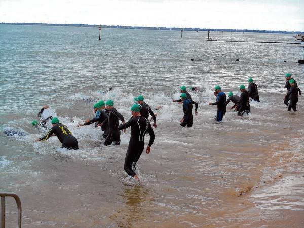 And they're off - competitors start the swim leg of the Harwich Olympic Distance Triathlon